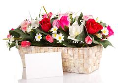 Decorated flowers basket Stock Photos