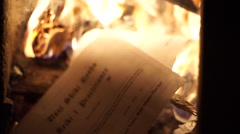 Burning Official Documents Stock Footage