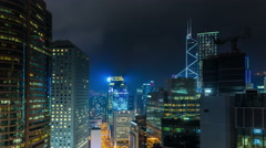 night light hong kong building leds roof panorama 4k time lapse china - stock footage