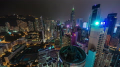 Night light hong kong busy buildings roof top panorama 4k time lapse china Stock Footage