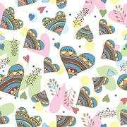 Seamless pattern of drawing doodle hearts - stock illustration