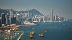 Sunny day hong kong bay port panorama 4k time lapse china Stock Footage