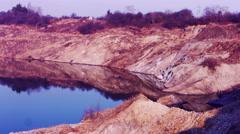 Red Martian lake shore. Dombrowski quarry, Kalush Stock Footage