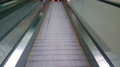 Modern escalator moving up at business, shopping center, airport Stock Footage