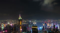 Stock Video Footage of hong kong night light city panorama high building 4k time lapse china