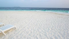 Sand beach and ocean wave, South Male Atoll. Maldives - stock footage