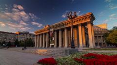 Sunset light novosibirsk city central palace 4k time lapse russia Stock Footage