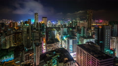 Honk kong city night light roof top round panorama 4k time lapse china Stock Footage