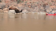 Boaters floating down the colorado river - stock footage