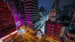 Hong kong city roof top night light street market 4k time lapse china Stock Footage