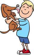 Boy with puppy cartoon Stock Illustration