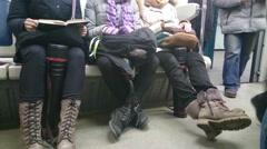 Passengers enter metro car during rush hour, municipal transport Stock Footage