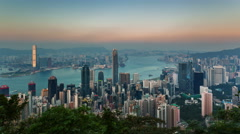 Sunset hong kong city roof top day till night bay panorama 4k time lapse china Stock Footage