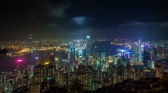 hong kong high light night city panorama 4k time lapse china - stock footage