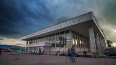 Krasnoyarsk city cloudy sky opera and ballet theatre 4k time lapse russia Stock Footage
