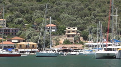 Ionian Island port landscape, sail boats, tourist yachts, summer holiday.  Stock Footage