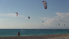 Competition activity during a summer kiteboarding contest. Stock Footage