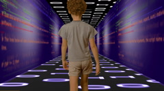 Child Walking Through Code (Room) Stock Footage