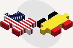 USA and Belgium Flags in puzzle Stock Illustration