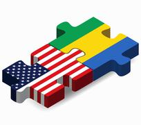 USA and Gabon Flags in puzzle - stock illustration