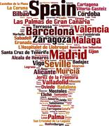 Stock Illustration of Cities in Spain word cloud