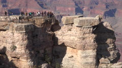 Grand Canyon tourism group on edge of lookout 4K Stock Footage