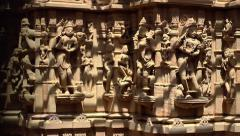 Sandstone sculptures of a Jain temple, India Stock Footage