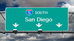 San Diego 5 Freeway South Sign Time Lapse Stock Footage