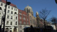 Neue Synagoge, tram passes. (New Synagogue), Berlin Stock Footage
