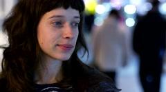 Dreamily brunette woman portrait Stock Footage