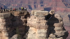 Grand Canyon tourist crowd on edge of lookout 4K Stock Footage