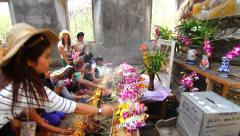 Thai People worship Buddha in the temple Stock Footage