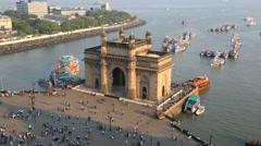 Mumbai India Gate Maharashtra Asia monument boat sea Stock Footage