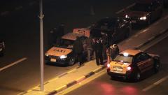 Arab road police of Egypt inspect cars on street, search of criminals terrorists - stock footage