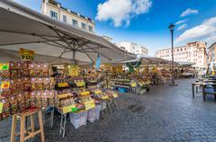 ROME,ITALY-March 24,2015: Campo de 'Fiori in Rome - Italy. One of the main sq - stock photo