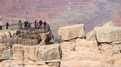 Grand Canyon tourist view on edge of beautiful lookout 4K Stock Footage