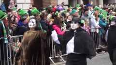 St Patricks Day Dublin Ghost People Stock Footage