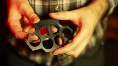 Knuckedusters brass knuckles Stock Footage