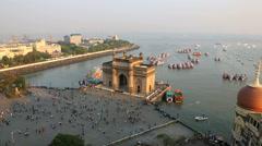 Mumbai Gateway India Maharashtra sea people travel  - stock footage