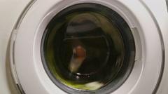 Wringing process in washing machine, power blackout, breakage Stock Footage