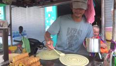 Pancake Thai street food Stock Footage