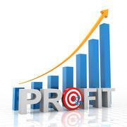 Target profit growth chart, 3d render - stock illustration