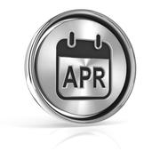 Metallic April calendar icon - stock illustration