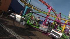 Scrambler Ride Santa Monica Pier Stock Footage