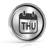Thursday metallic icon 3d render Stock Illustration