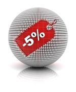 5 percent off sale tag on a sphere - stock illustration