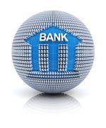 Bank icon on globe formed by dollar sign - stock illustration