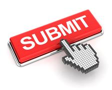 Clicking a submit button - stock illustration