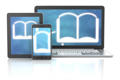 ebook icons on smartphone, digital tablet and laptop, 3d render - stock illustration