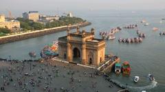 Mumbai Gateway India Maharashtra Asia monument sunset Stock Footage